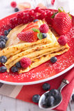 Pancake with berry fruit Stock Photography