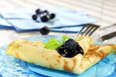 Pancake with blueberry. On a plate Royalty Free Stock Photo