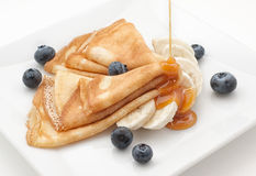 Pancake with blueberry and honey Royalty Free Stock Photos
