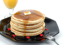 Pancake Breakfast. Stack of pancakes with syrup Stock Photos