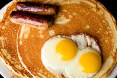 Pancake Breakfast. Pancakes, eggs and sausage for breakfast Stock Images