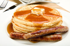 Pancake Breakfast. Breakfast of coffee, pancakes and sausage Stock Image