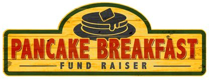 Pancake Breakfast Fund Raiser Sign Logo Art. Ancake Breakfast Fund Raiser Sign Logo Art Fundraiser Wood vintage hand painted plaque stock illustration