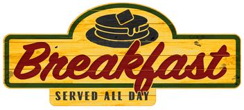 Breakfast Served All Day Sign Plaque Pancakes. Pancake Breakfast Served All Day Sign hand painted vintage retro diner Wood Plaque Pancakes stock illustration