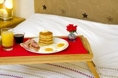 Pancake Breakfast served in Bed Stock Photos
