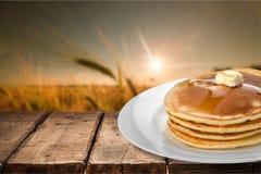 Pancake. Breakfast Syrup Plate Butter Fluffy Heat Stock Photos