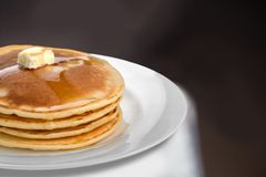 Pancake. Breakfast Syrup Plate Butter Fluffy Heat Royalty Free Stock Photo