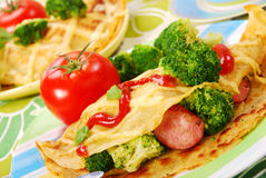 Pancake with broccoli Stock Photos