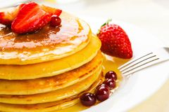 Pancake. Buckwheat Blueberry Breakfast Healthy Eating Whole Wheat Cereal Plant Royalty Free Stock Photo