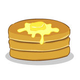 Pancake with butter. Vector illustration of a stack of pancake with butter on top Stock Images
