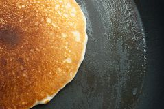 Pancake in buttered pan Stock Photos