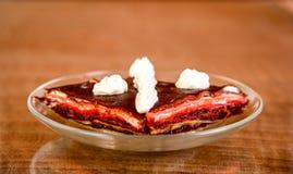 Pancake cake with fresh raspberry pistachios Stock Photo