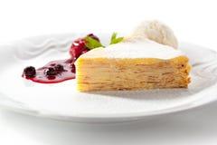 Pancake Cake with Ice Cream Stock Images
