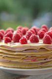 Pancake cake with raspberries. And butter cream Royalty Free Stock Photo