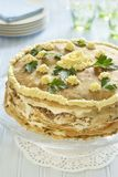 Pancake Cake With Liver, Sour Cream And Parsley