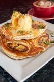 Pancake caldi con il gelato di fusione Fotografie Stock Libere da Diritti