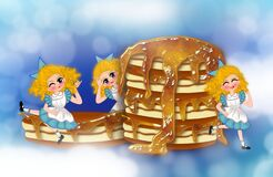 Pancake with caramel jam topping and a cute girl