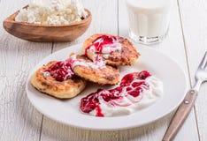 Pancake casalinghi del formaggio Fotografia Stock