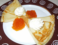 Pancake with caviar Royalty Free Stock Image