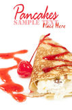 Pancake with cheese and cherry jam Stock Photo