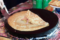 Pancake with cheese and ham Royalty Free Stock Photo