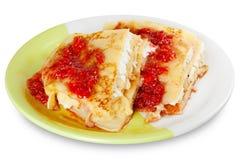 Pancake with cheese and raspberry jam Stock Photos