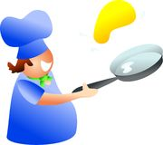 Pancake chef. Chef tossing a pancake - icon people series Stock Image