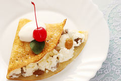 Pancake with cherry Royalty Free Stock Image