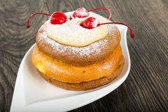 Pancake with cherry. And shugar powder Stock Image