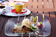 Pancake with chocolate Royalty Free Stock Photo