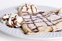 Pancake With Chocolate and cream Stock Photography