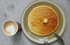 Pancake with coffee. For good breakfast time Stock Images
