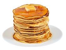 Pancake con burro e sciroppo Immagini Stock Libere da Diritti