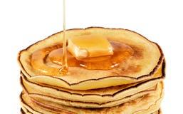 Pancake con burro e sciroppo Fotografia Stock