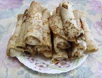 Pancake con carne e cavolo Fotografia Stock Libera da Diritti