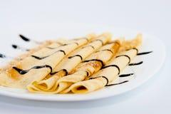 Pancake con cioccolato Fotografie Stock Libere da Diritti
