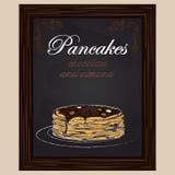 Pancake con cioccolato e la mandorla sul piatto Fotografie Stock