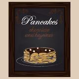 Pancake con cioccolato e la nocciola sul piatto Fotografie Stock Libere da Diritti
