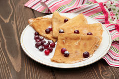 Pancake con i mirtilli rossi Fotografie Stock