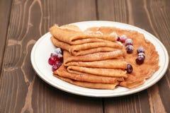 Pancake con i mirtilli rossi Fotografia Stock