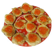 Pancake con il caviale Fotografia Stock