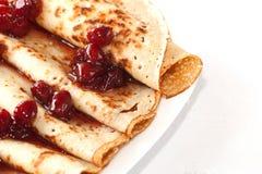 Pancake con il primo piano dell'ostruzione Fotografie Stock Libere da Diritti