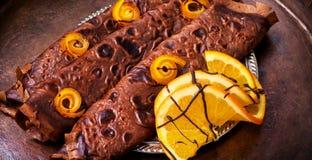 Pancake con inceppamento arancio Fotografia Stock Libera da Diritti