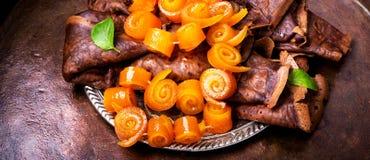 Pancake con inceppamento arancio Fotografia Stock