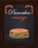 Pancake con l'arancia e l'inceppamento sul piatto Fotografie Stock
