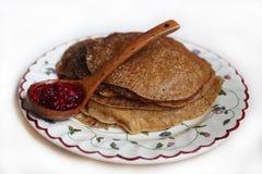 Pancake con l'inceppamento dell'uva di monte Fotografie Stock