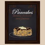 Pancake con la banana e l'arachide del cioccolato sul piatto Fotografie Stock