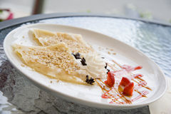 Pancake con la fragola Fotografia Stock