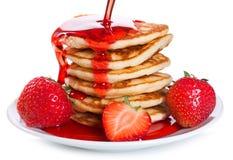 Pancake con la fragola Immagini Stock