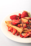 Pancake con le fragole Immagini Stock